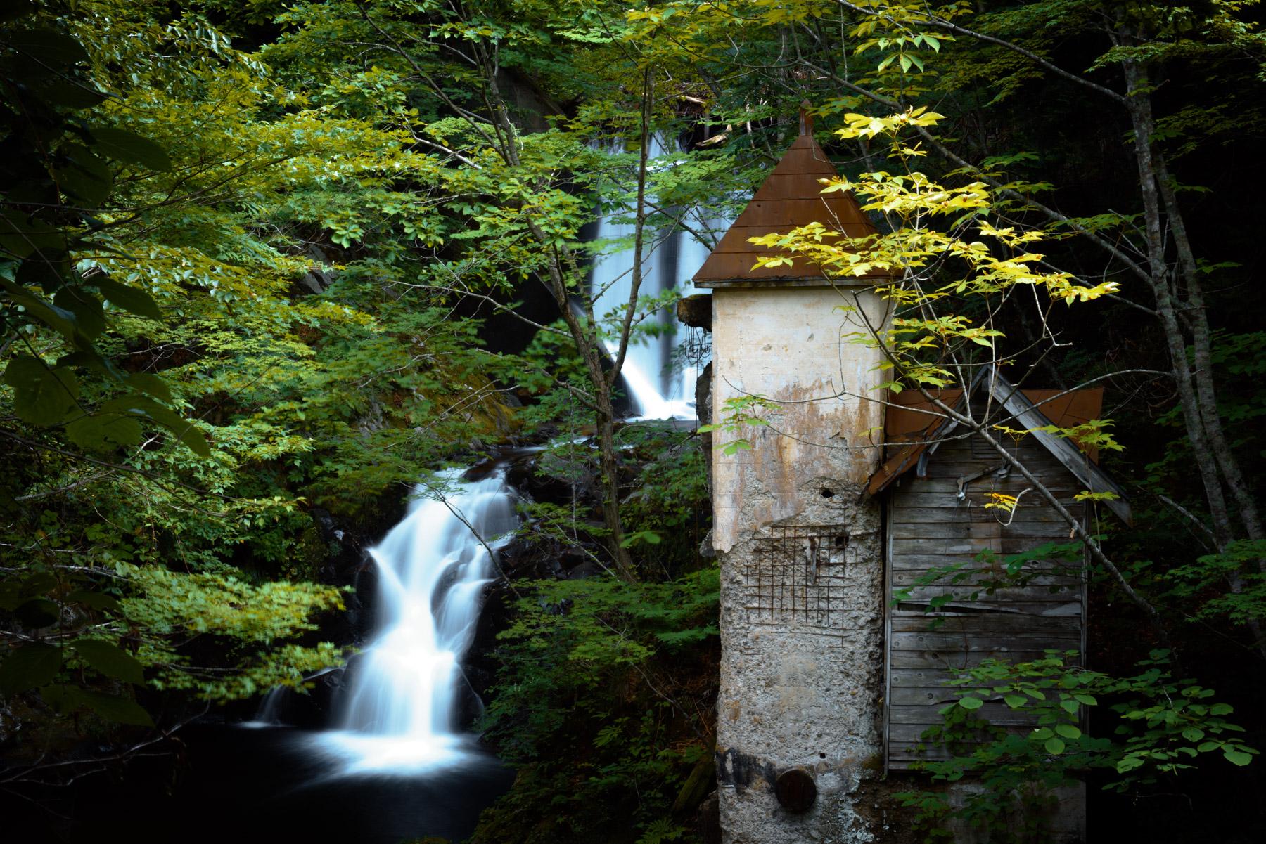 abandoned, aomori, asia, factory, haikyo, japan, japanese, natural, nature, ruin, tohoku, urban exploration, urbex, waterfall